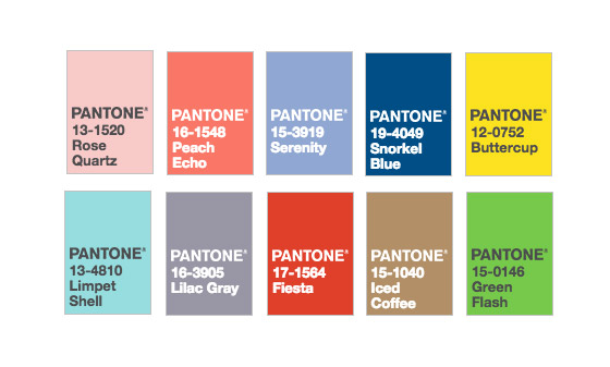 top 10 colors pantone 2016