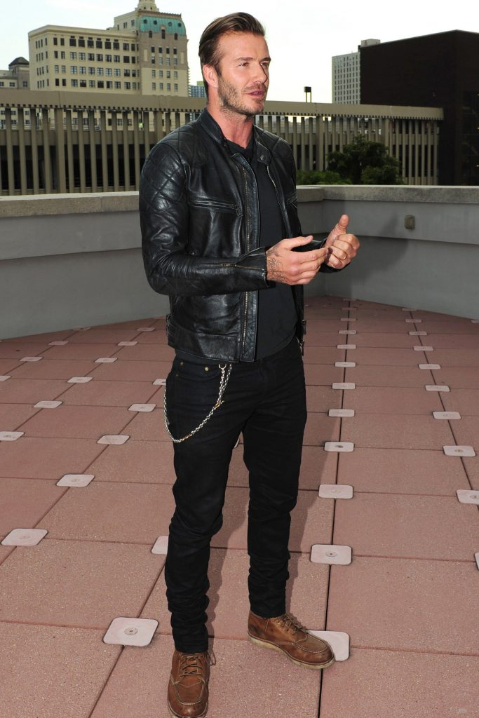 David Beckham all black jaqueta de couro